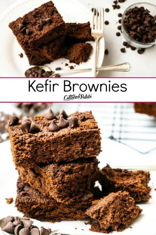 Kefir Brownies shown stacked and close and then on plate with fork and text overlay.