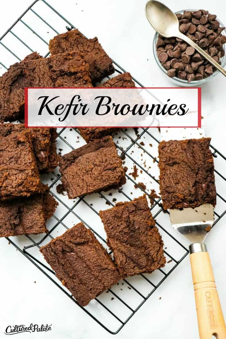 Kefir Brownies cut on cooling rack with serving spatula.