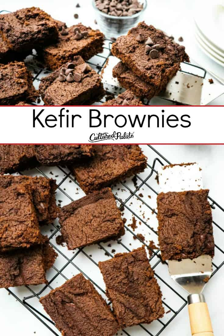 Kefir Brownies shone from overhead and side view with text overlay.