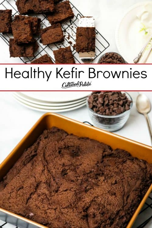 Kefir Brownies shown in two images, cut on plate and uncut in pan with text overlay.