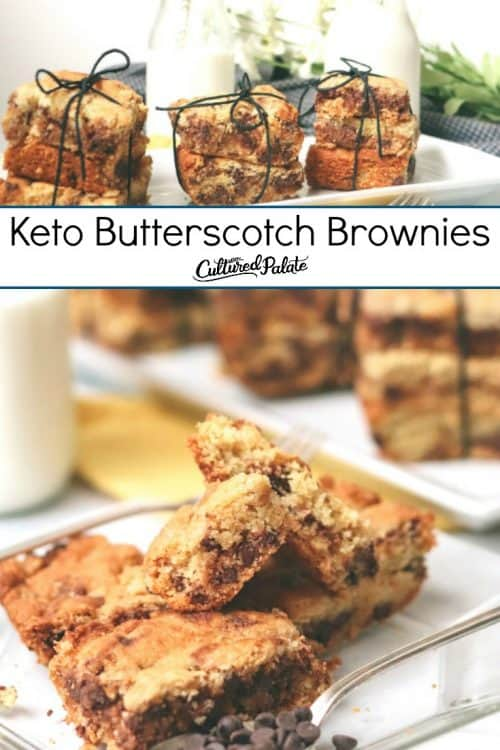 Keto Butterscotch Brownies shown with glass of milk on a white plate.