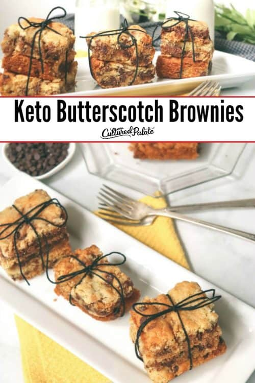 Keto Butterscotch Brownies shown in two images both tied in stacks with black string and text overlay.