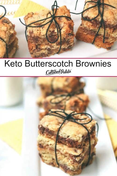 Keto Butterscotch Brownies shown on plate and tied with string and text overlay.