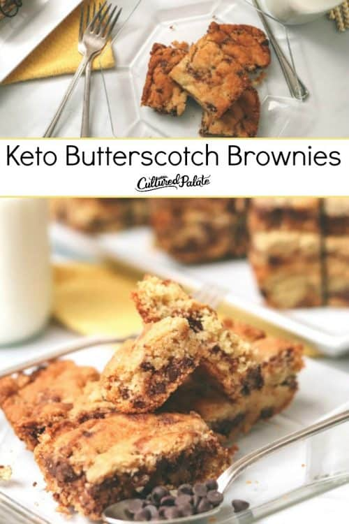 Keto Butterscotch Brownies shown close up and plated with text overlay.