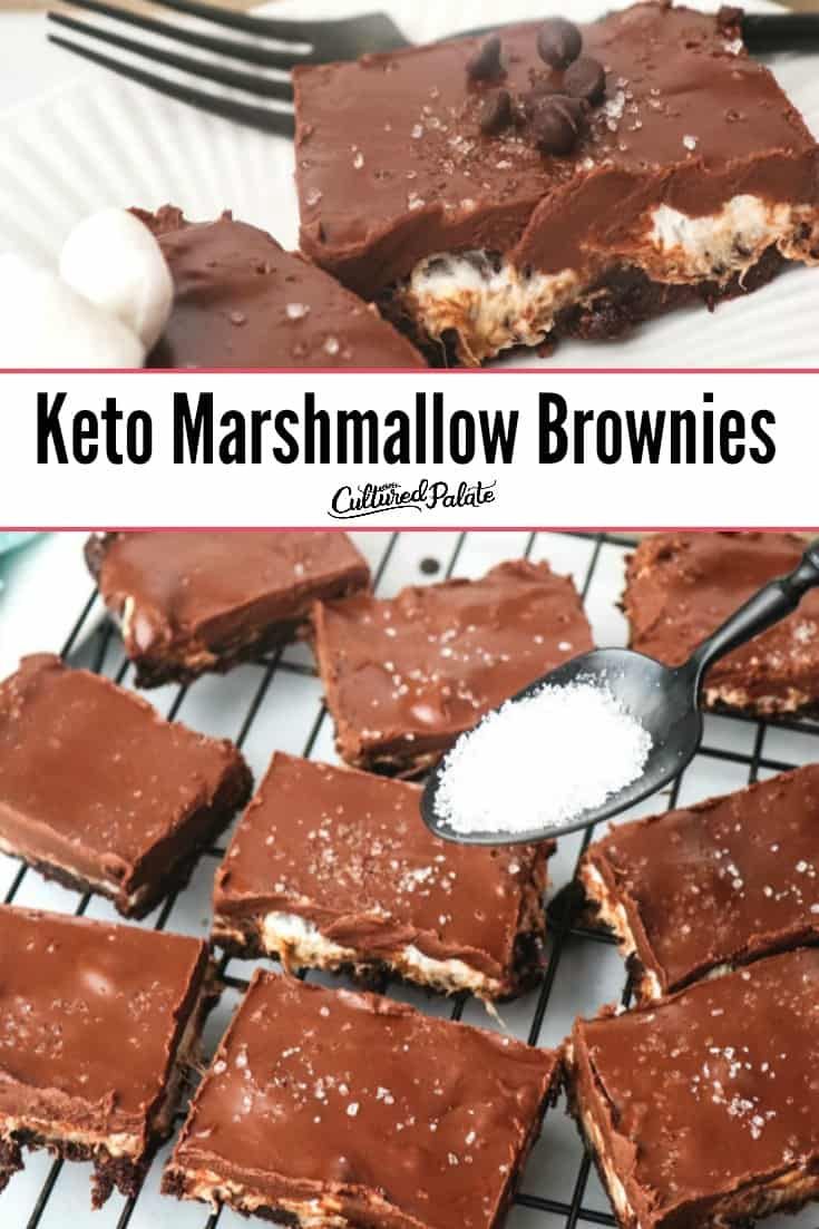Keto Marshmallow Brownies shown close and from overhead with text overlay.