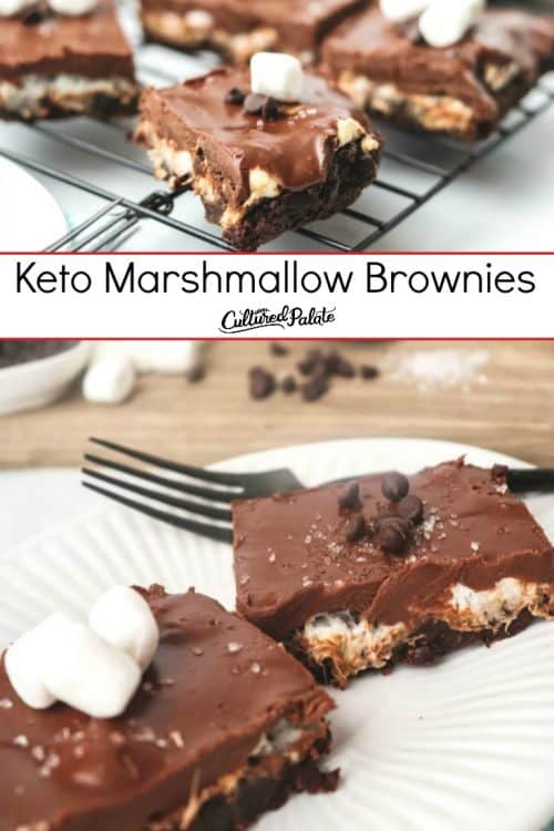 Keto Marshmallow Brownies on cooling rack and on a white plate with text overlay.