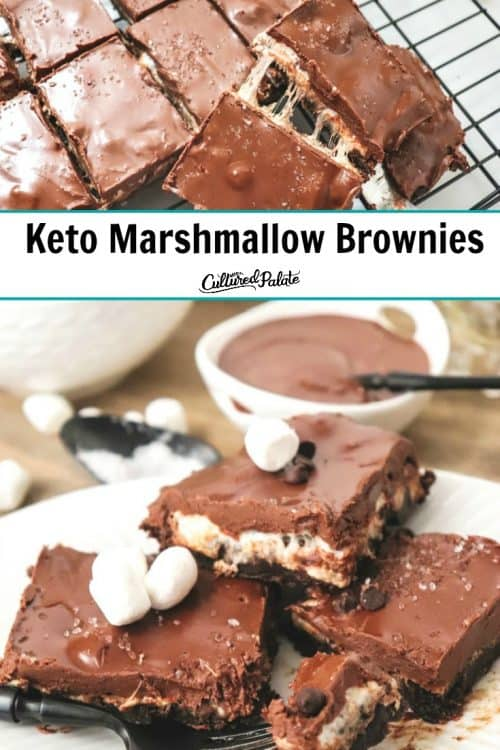 Keto Marshmallow Brownies on a white plate with sauce in the background and text overlay.