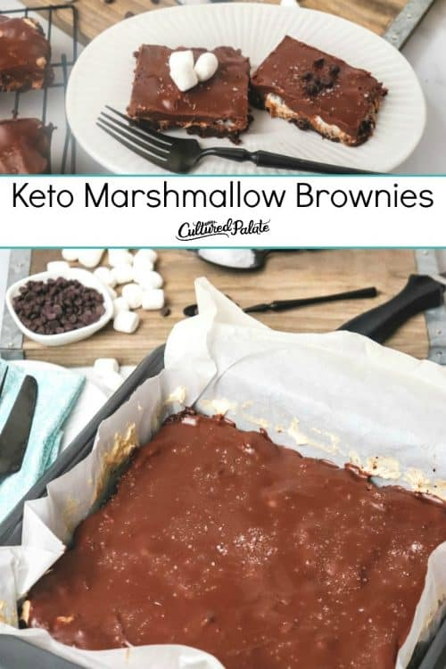 Keto Marshmallow Brownies shown in pan with parchment paper.