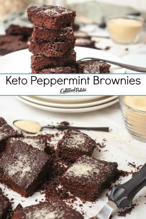 Keto Peppermint Brownies shown cut and plated with text overlay.
