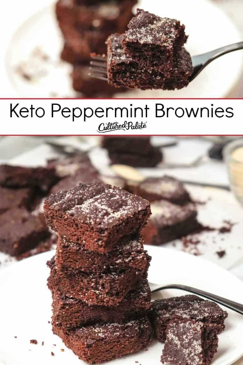 Keto Peppermint Brownies shown on a white plate and on a fork with text overlay.