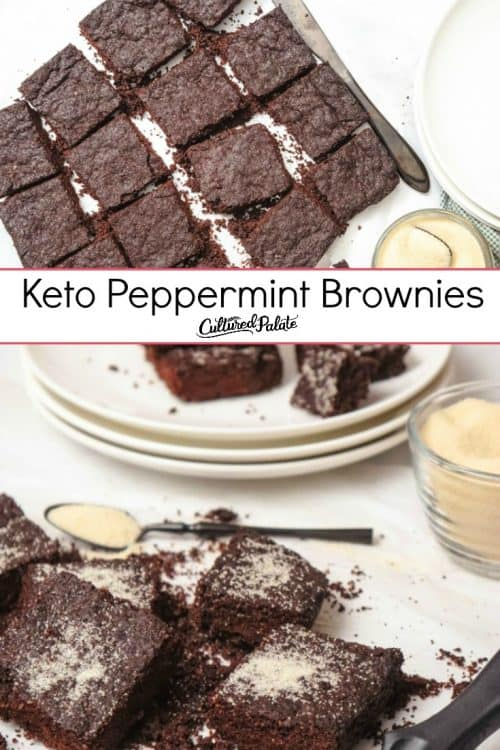Keto Peppermint Brownies shown in two images with text overlay.