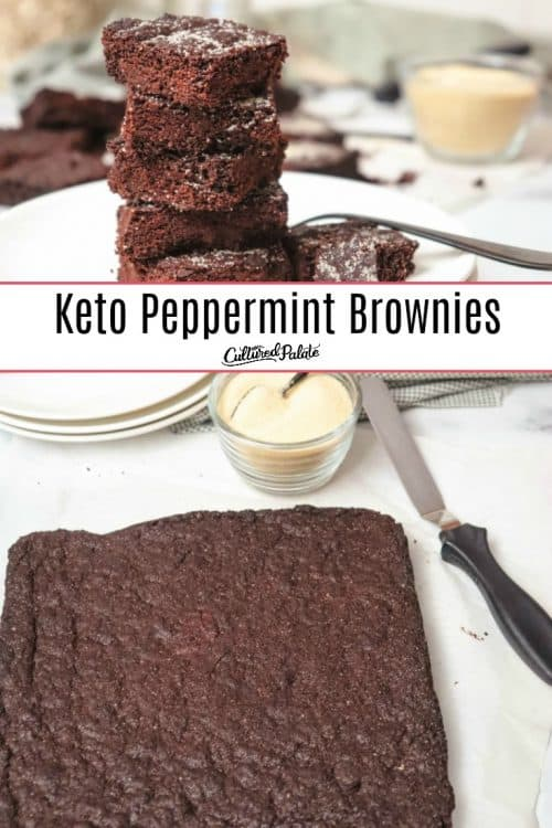 Uncut and cut Keto Peppermint Brownies show on white plate and parchment paper.