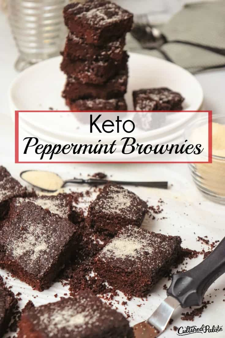 Closeup of cut Keto Peppermint Brownies with a plate of brownies in the background.