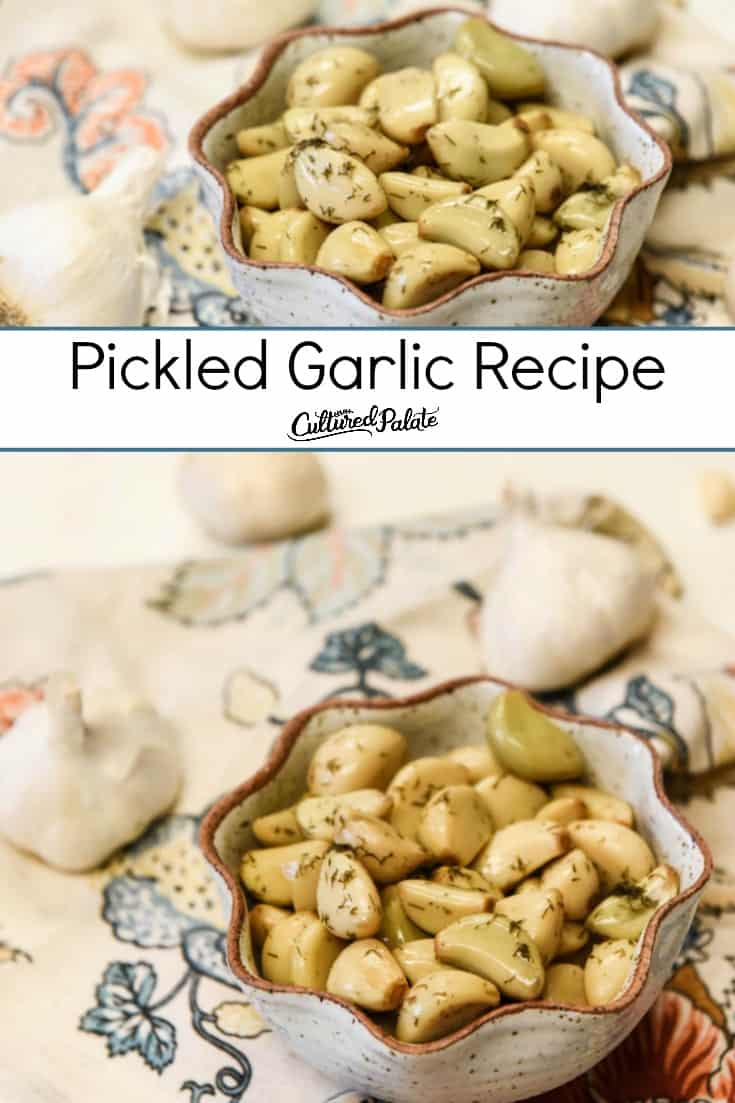 Collage of pickled garlic images with text overlay.