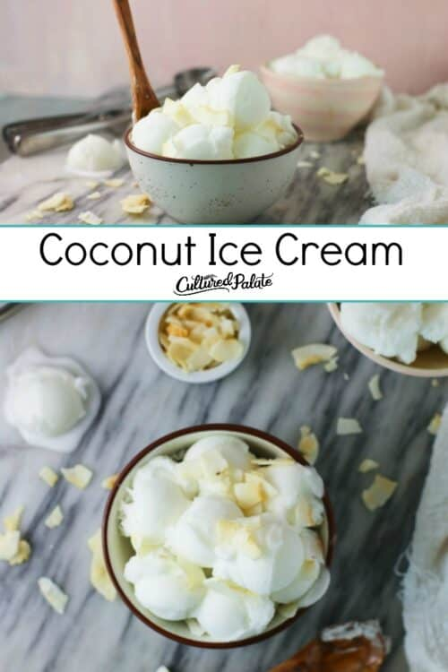 Coconut Ice Cream Recipe shown served from he side and from overhead with text overlay and coconut flakes on a marble table.