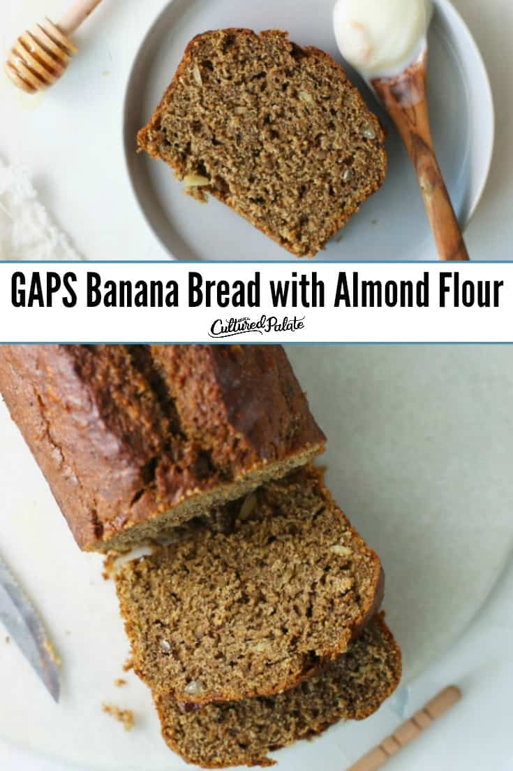 A slice and a loaf of gluten-free banana bread on white background with text overlay.