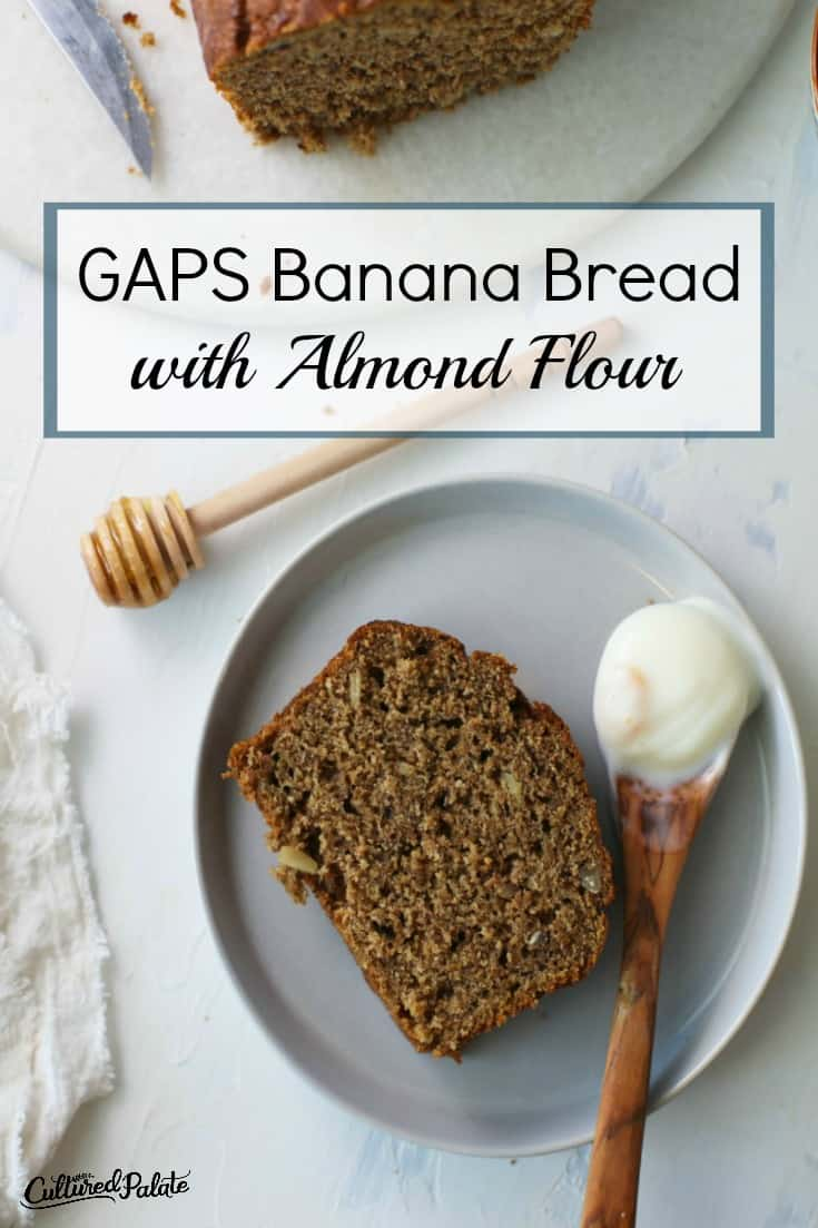 Gluten free Banana Bread with Almond Flour show from overhead with text overlay.