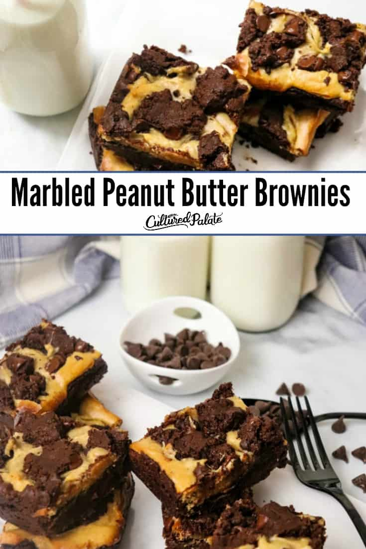 Milk beside Marbled Peanut Butter Brownies shown from side and overhead with text overlay.