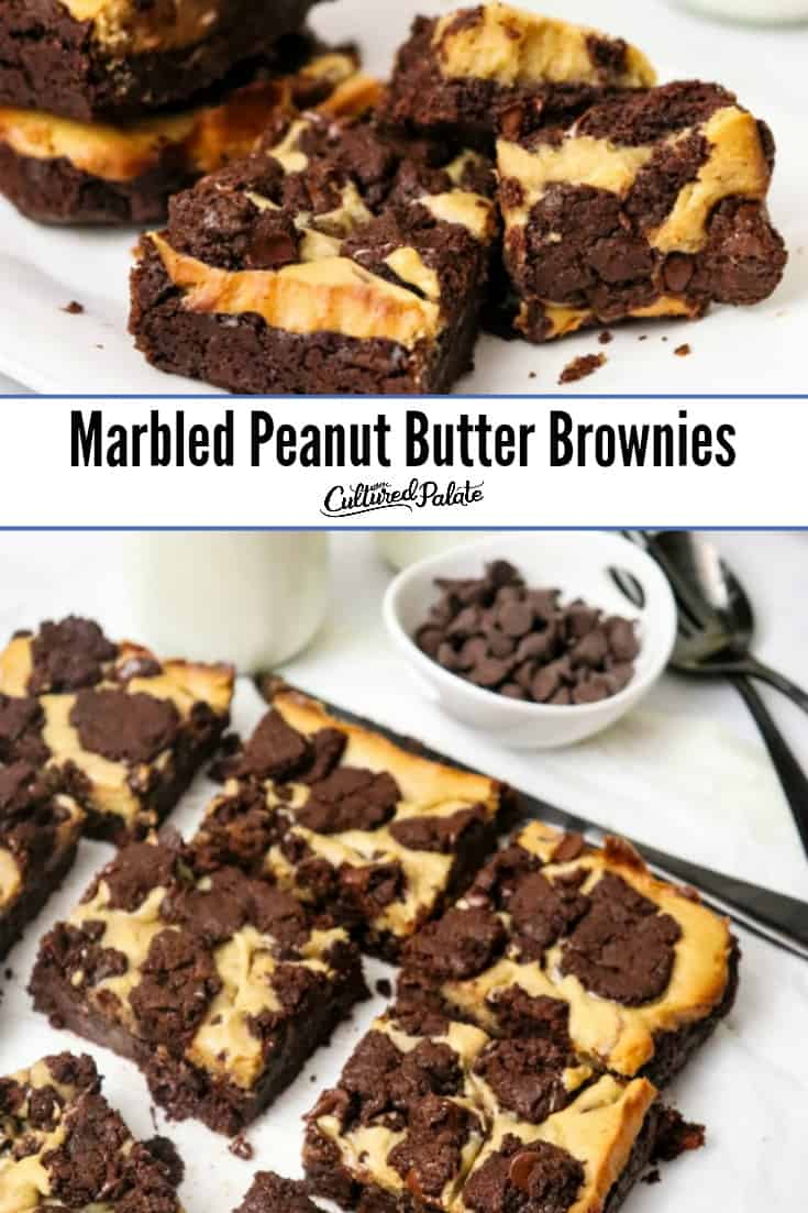 Closeup of Marbled Peanut Butter Brownies on plate and on parchment paper with text overlay.