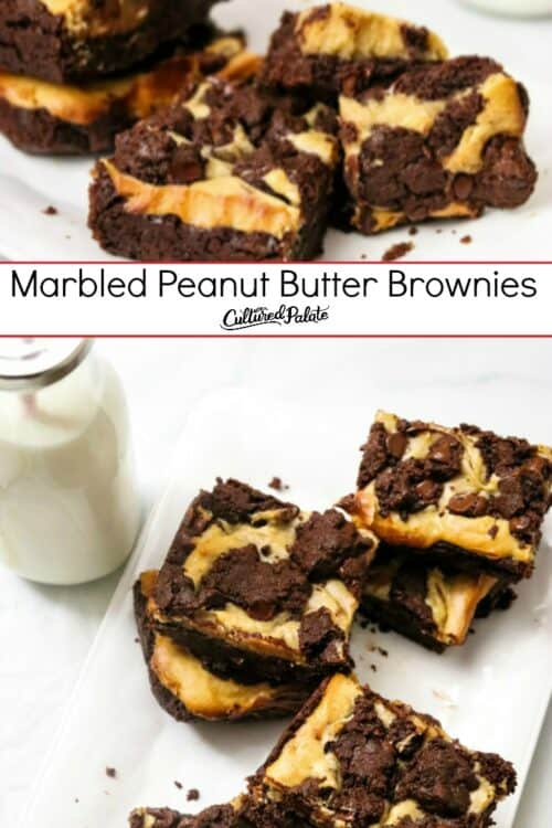 Closeup of marbled Peanut Butter Brownies and from overhead with text overlay.