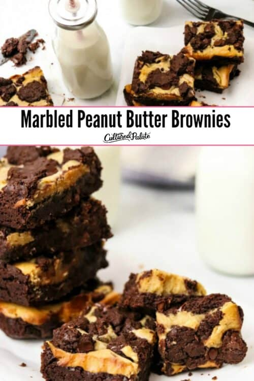 Peanut Butter Brownies shown on white plate with milk in glass jar and straw.