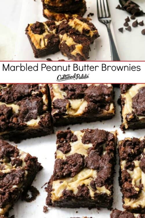 Marbled Peanut Butter Brownies shown in two images with text overlay.