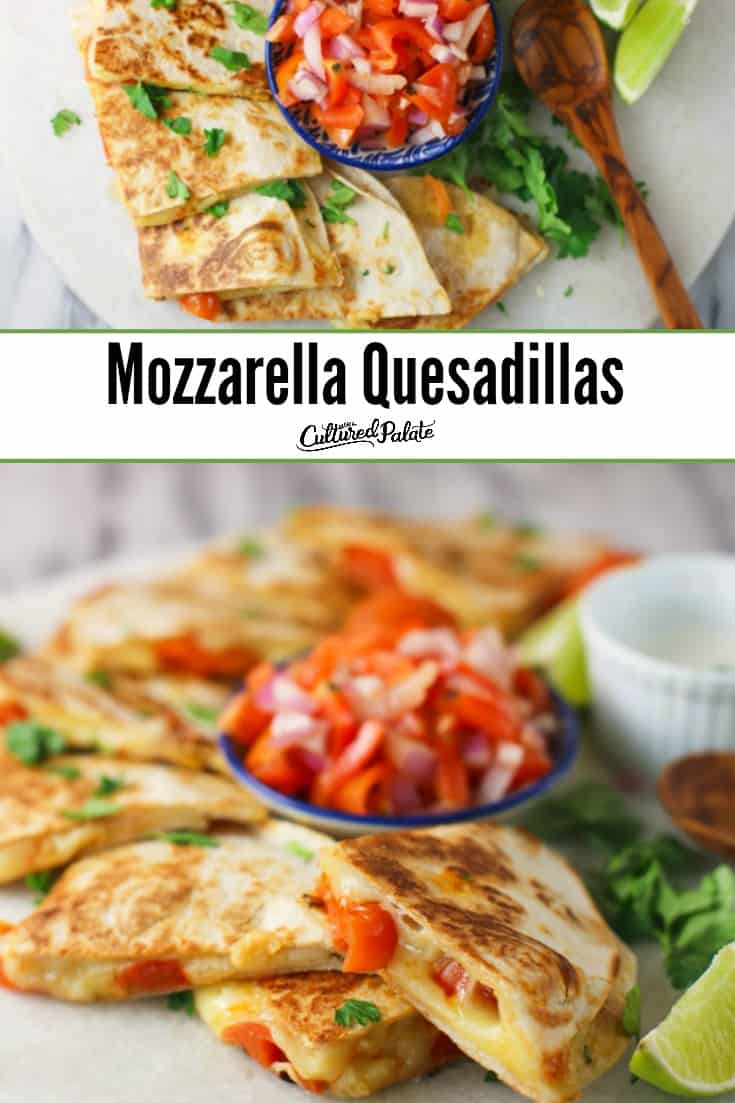 Mozzarella Quesadillas served on white plate shown from overhead and the side with text overlay.