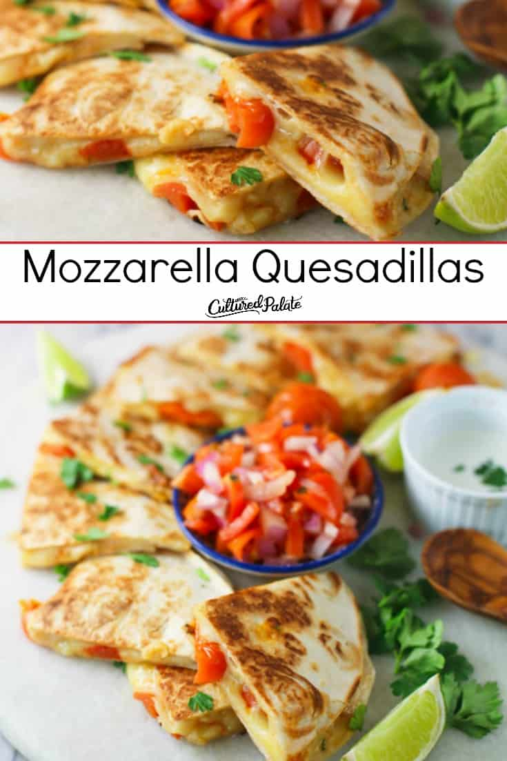 Mozzarella Quesadillas close up and from above with text overlay.