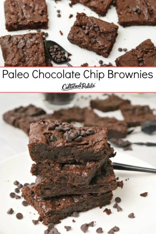 Close up of Paleo Chocolate Chip Brownies shown on a fork and stacked with text overlay.