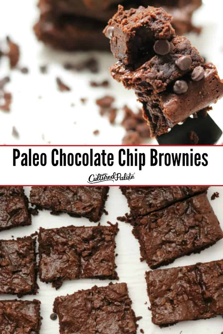 Grain free brownies shown on a fork and on parchment paper with text overlay.