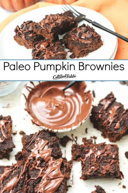 Grain free pumpkin brownies shown overhead on parchment and on a white plate with text overlay.