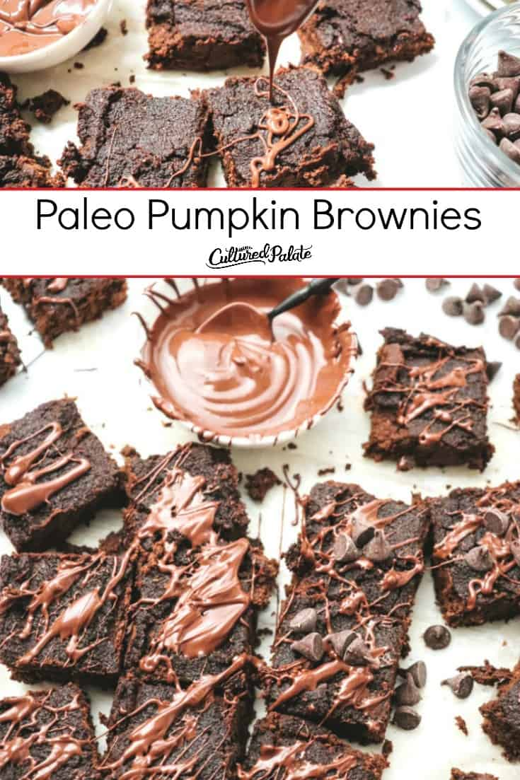 Paleo Pumpkin Brownies shown in two images with text overlay.