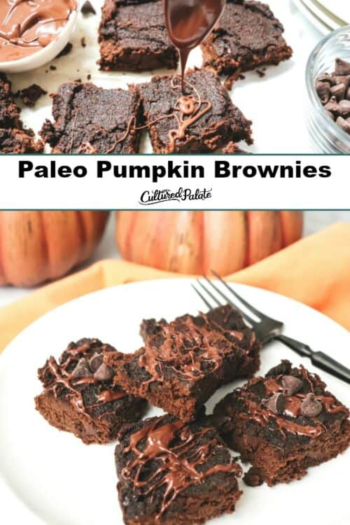 Grain free pumpkin brownies shown on a white plate with pumpkins in the background.