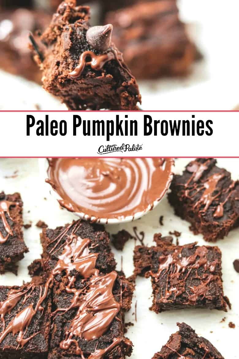 Paleo Pumpkin Brownies shown on a fork and on parchment paper with text overlay.