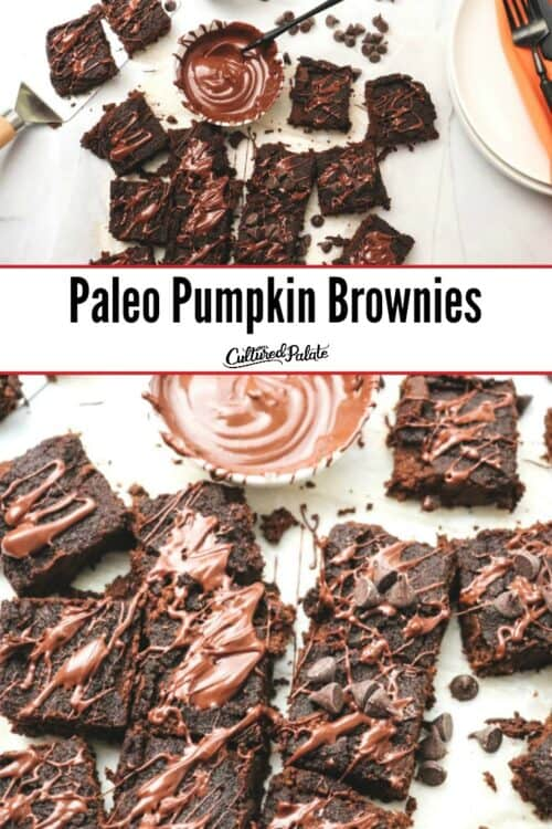 Paleo Pumpkin Brownies shown from overhead and close up with text overlay.