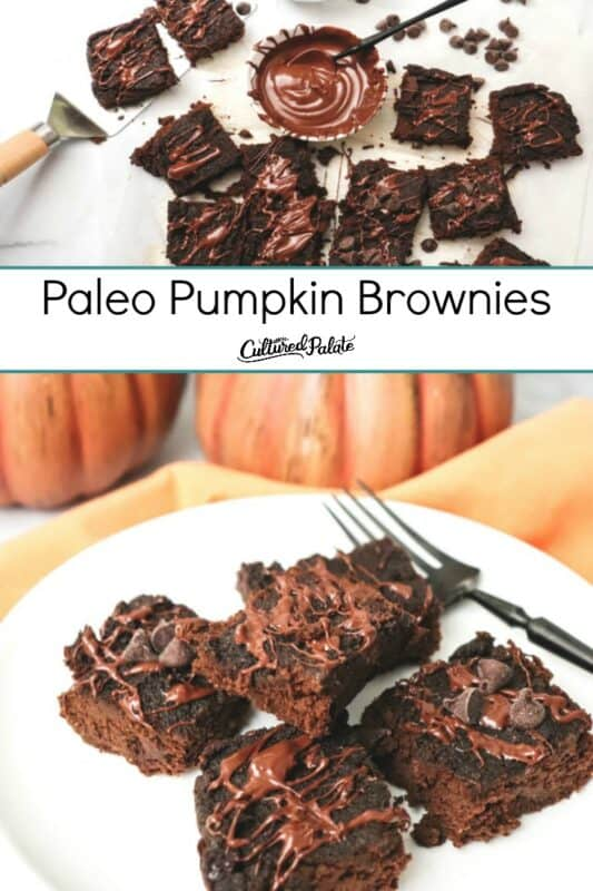 Paleo Pumpkin Brownies shown on plate and on parchment paper
