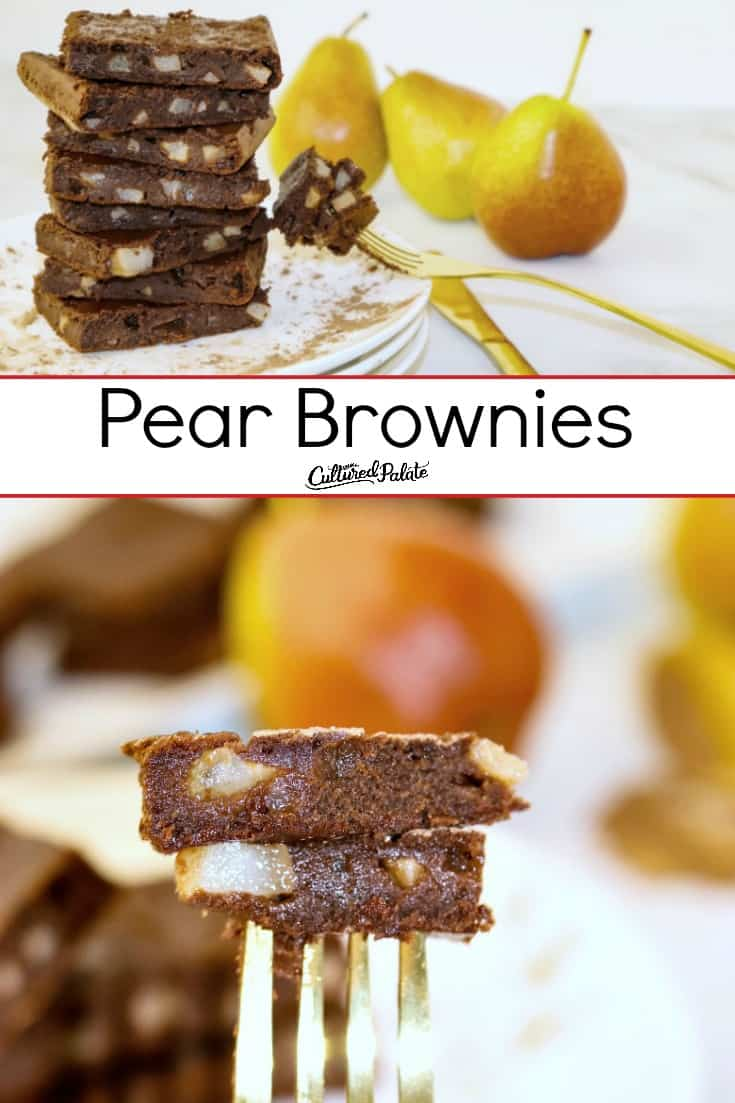 Pear Brownies on a fork and another image stacked on a plate making a collage with text ovelay.