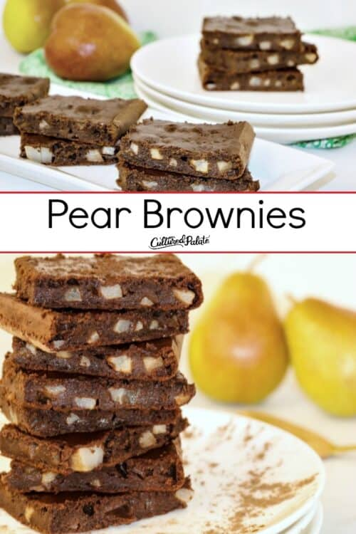 Pear Brownies shown stacked on a plate and from the side on a platter with text overlay.