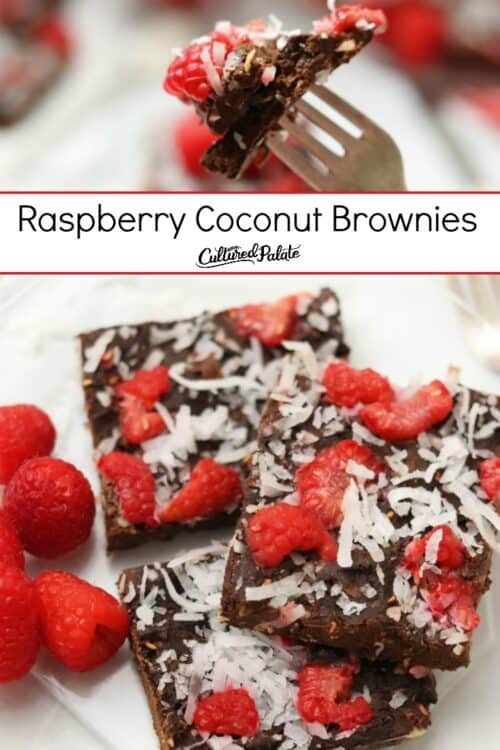 Raspberry Coconut Brownies shown on fork and from overhead with text overlay.