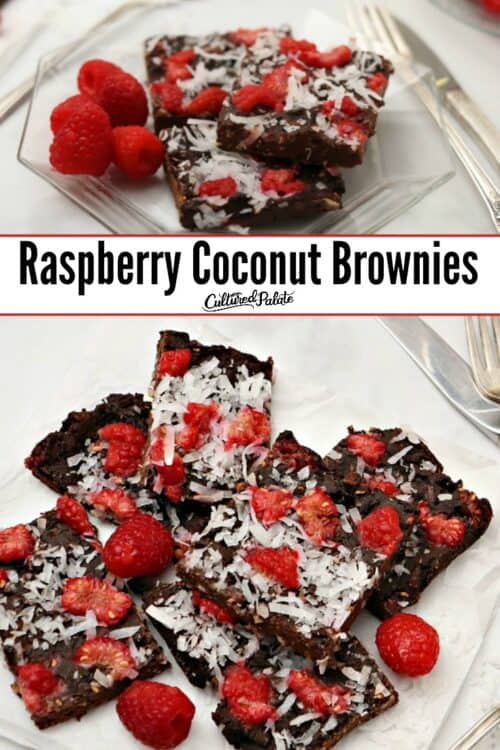 Raspberry Coconut Brownies shown on glass plate and parchment paper with text overlay.