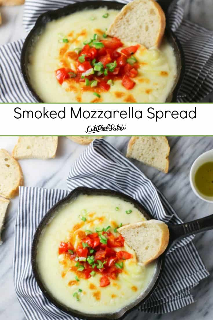 Garnished Smoked Mozzarella Spread shown in cast iron skillet on striped napkin and text overlay.