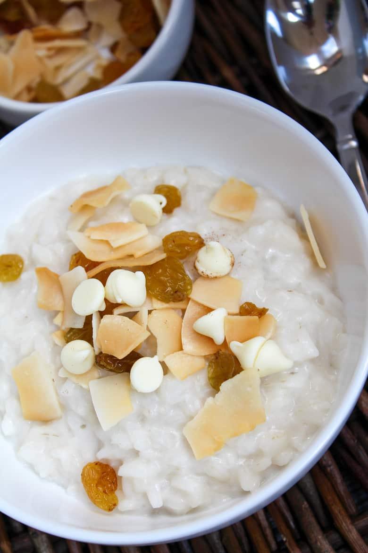 cream of rice with coconut raisins and white chocolate