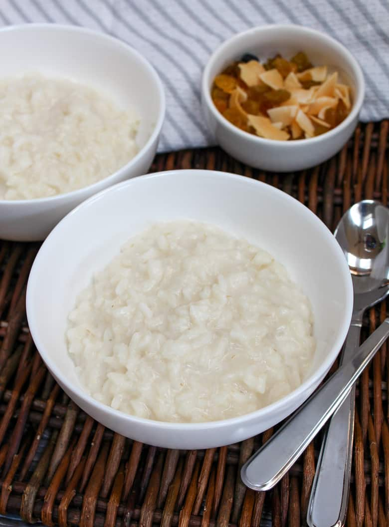 untopped cream of rice in a white bowl
