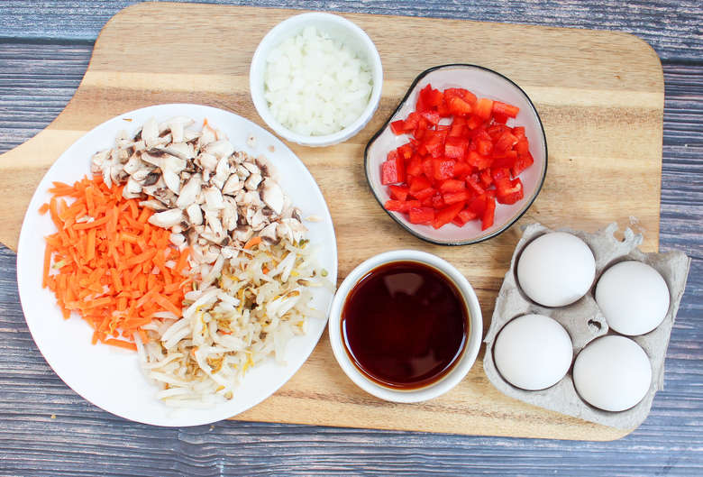 egg foo young ingredients on a cutting board